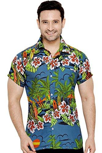CLUB CUBANA Chemise hawaiienne classique, étroite, florale, décontractée à manches courtes pour hommes