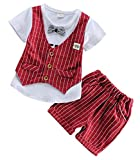 Baby Boys Summer Gentleman Clothing Short Sleeve T-Shirt Plaid Vest Top Pants Sets Size 3-4Years/Tag110-XL (Red)