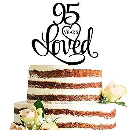 Amazon Black Acrylic 95 Years Loved Cake Topper 95th Birthday