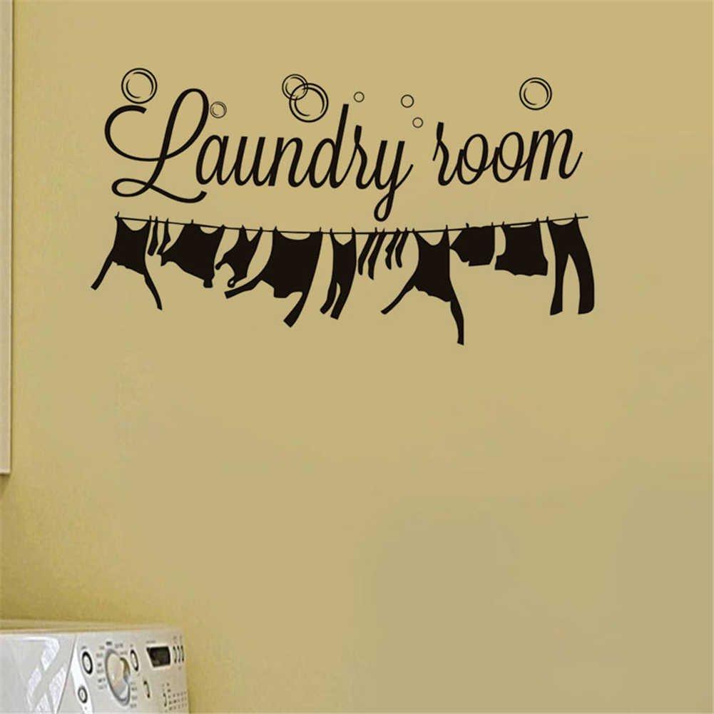 BIBITIME Laundry Room Vinyl Decal Bubble Wall Decor Dangling Clothes ...