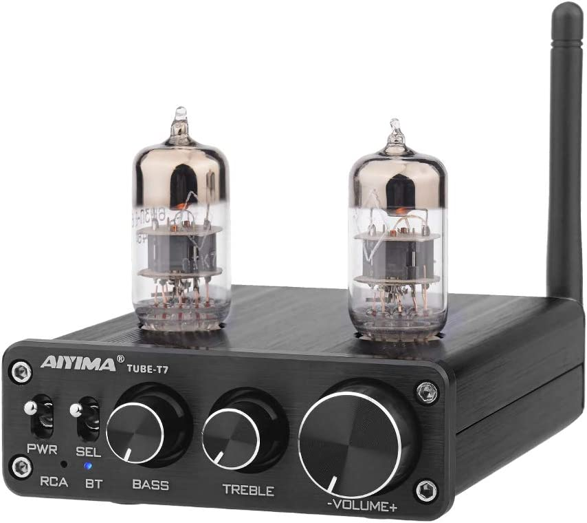 [2021 Upgrade] AIYIMA Tube T7 Audio 6N3 Tube Preamp Bluetooth 5.0 Warm Vacuum Buffer Preamplifier with Treble Bass Tone for Home Theater System