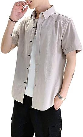 Camisa de vestir casual de los hombres Camisa de manga corta para hombre del cuello de