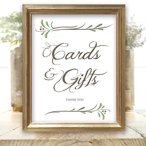 Cards and Gifts Sign - Wedding Signs - Rustic White 8.5 inch x 11 inch Printed Sign for Wedding Cards and Gifts - Frame not (Country Textured Matte)