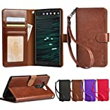 LG V10 Case, Arae LG V10 wallet case, [Wrist Strap] Flip Folio [Kickstand Feature] PU leather wallet case with ID&Credit Card Pockets For LG V10 (Brown)