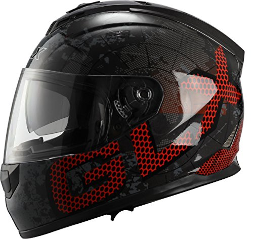 GLX Unisex-Adult GX15 Lightweight Full Face Motorcycle Street Bike Helmet with Internal Sun Visor DOT Approved (Metal, X-Large)