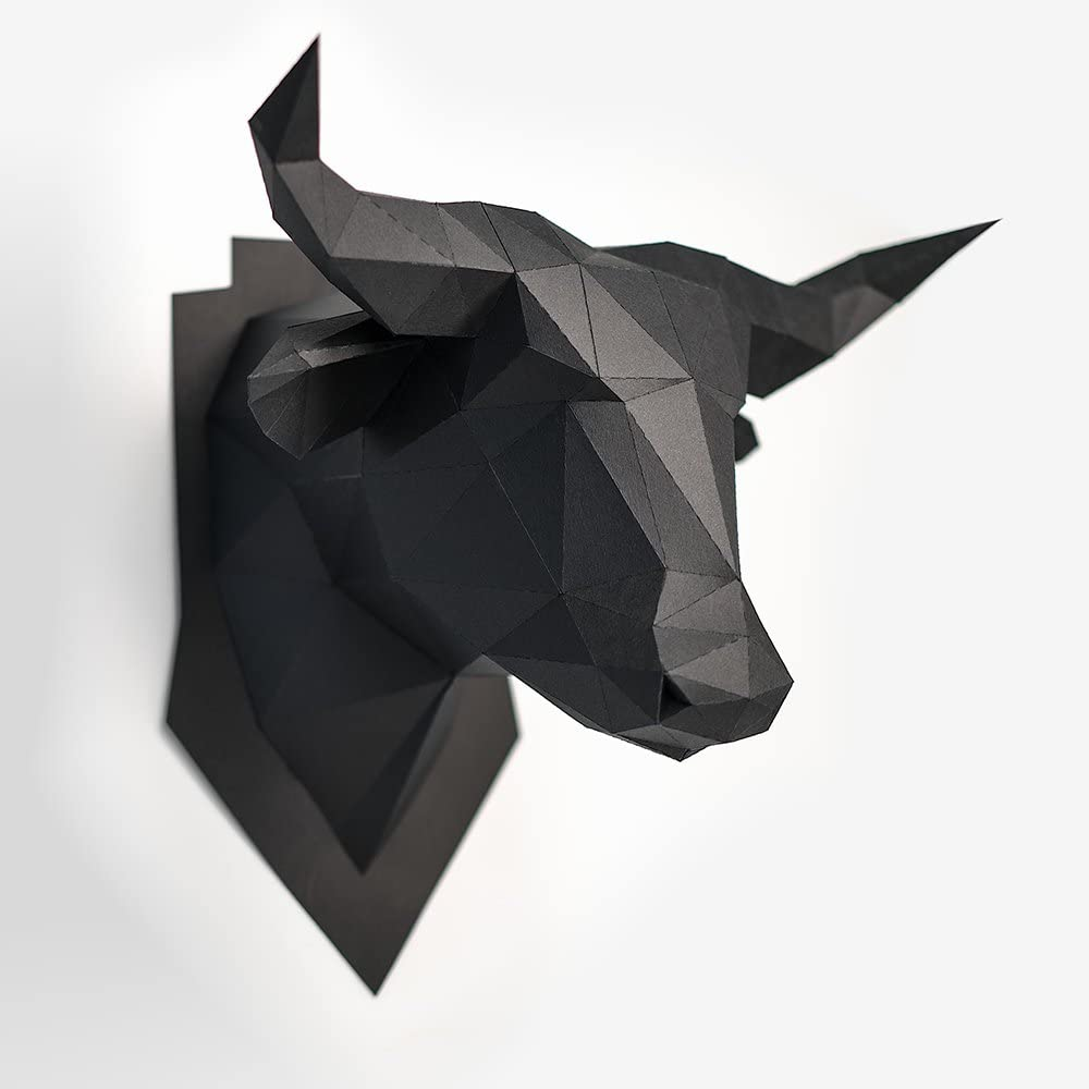 Diy 3d Papercraft Model Bull Head Handmade Wall Hanging Paper Arts And Crafts Kit Easy Assembly For Kids And Adults Pre Cut And Pre Creased Black Amazon Co Uk Baby