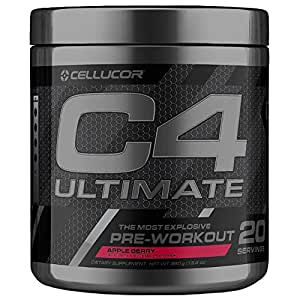 Cellucor C4 Ultimate Pre Workout Powder with Beta Alanine, Creatine Nitrate, Nitric Oxide, Citrulline Malate, and Energy Drink Mix, Apple Berry, 20 Servings