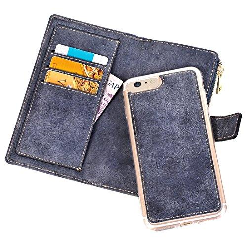Mobile protection Para el iPhone 7 estilo retro textura de caballo loco horizontal Flip caja de cuero con separador separable y cierre de cremallera y ranura para tarjetas y billetera y hebilla magnét Dark blue