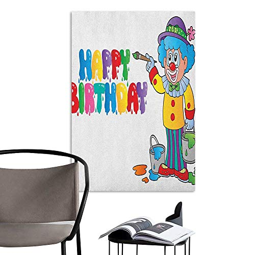 Alexandear Decals for Home Room Decoration Kids Birthday Happy Clown for Party with Colorful Painting Drawing Style Buckets Print Multicolor Bedroom Bedside Wall W24 x -