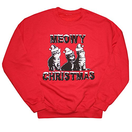 Happy Family Clothing Meowy Christmas Funny Ugly Sweatshirt (Small, Red)