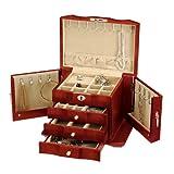 Seya Burlwood Wooden Jewelry Box w/ Lock and Key (Cherry)