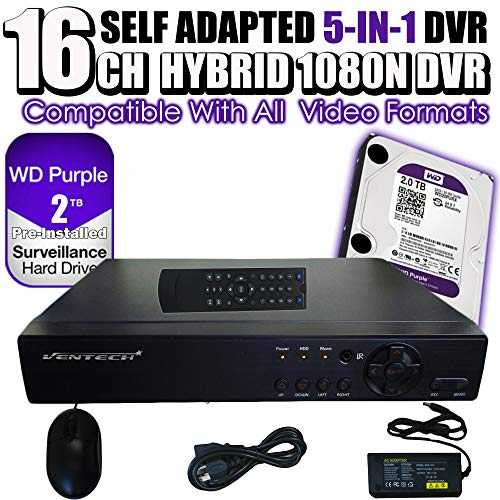 - DVR 16 Channel Ventech 1080 5 in 1 Hybrid Surveillance Recorder Security Systems HDMI Output QR Code Set Up Push Alerts on Cell Phones & Free App P2P (2TB Hard Drive) p2p 720P 960P 1080P AHD
