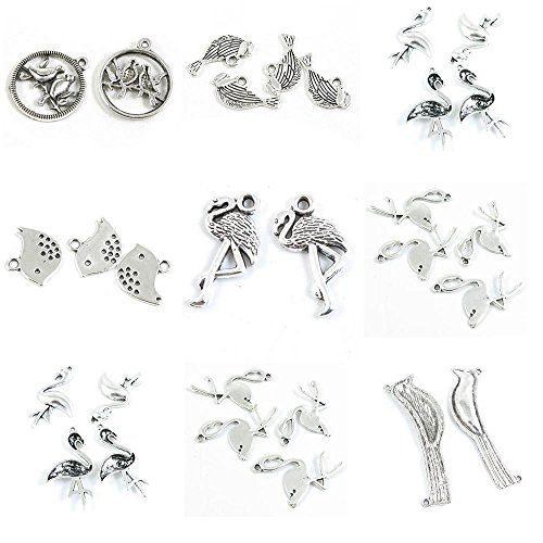 30 Pieces Antique Silver Tone Jewelry Making Charms Cute Birds Egretta Crane Whooping Flat Dove Pigeon Twins ()