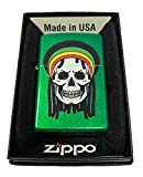Zippo Custom Lighter - Rastafari Rasta Dead Skull w/ Dreads - Meadow Green