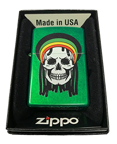 Zippo-Custom-Lighter-Rastafari-Rasta-Dead-Skull-w-Dreads-Meadow-Green