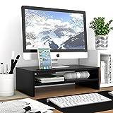 1home Universal Wood Monitor Stands Speaker TV PC Laptop Computer Screen Riser Desk Organizer 16.7 inch with Shelf Black
