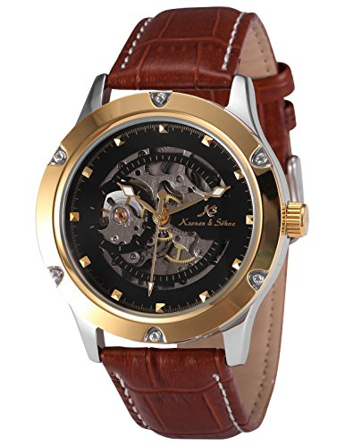 Mens Mechanical Brown Leather - KS Navigator Skeleton Black Dial Automatic Men's Mechanical Brown Leather Waterproof Watch KS208