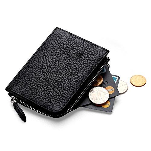MEKU RFID Blocking Womens Leather Zipper Change Purse Coin Wallet Card Holder
