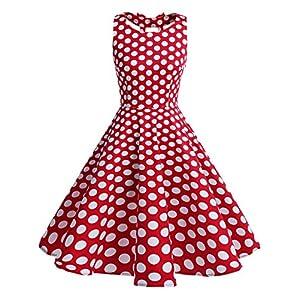 BeryLove Women's Vintage 50s Polka Dot Bowknot Retro Swing Cocktail Party Dress RedWhiteDot Size 2XL