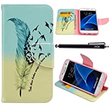 S7 Case, Galaxy S7 Wallet Case, iYCK Premium PU Leather Flip Folio Carrying Magnetic Closure Protective Shell Wallet Case Cover for Samsung Galaxy S7 with Kickstand Stand 5.1inch - Feather Bird