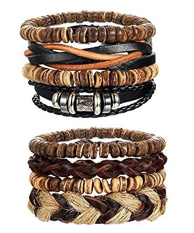 LOYALLOOK 8pcs Mens Leather Bracelet Wrap Cuff Bracelets with Hemp Cords Wood Beads Ethnic Tribal - Jewelry