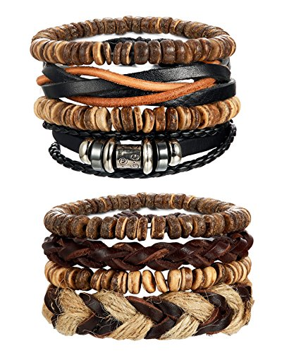 LOYALLOOK 8pcs Mens Leather Bracelet Wrap Cuff Bracelets with Hemp Cords Wood Beads Ethnic Tribal Black