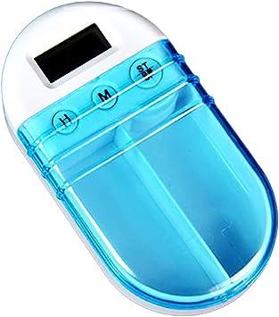Lsgepavilion - Organizador de pastillas, portátil, temporizador, caja de recordatorio electrónico, caja de medicinas, blanco, talla única: Amazon.es: Salud y cuidado personal