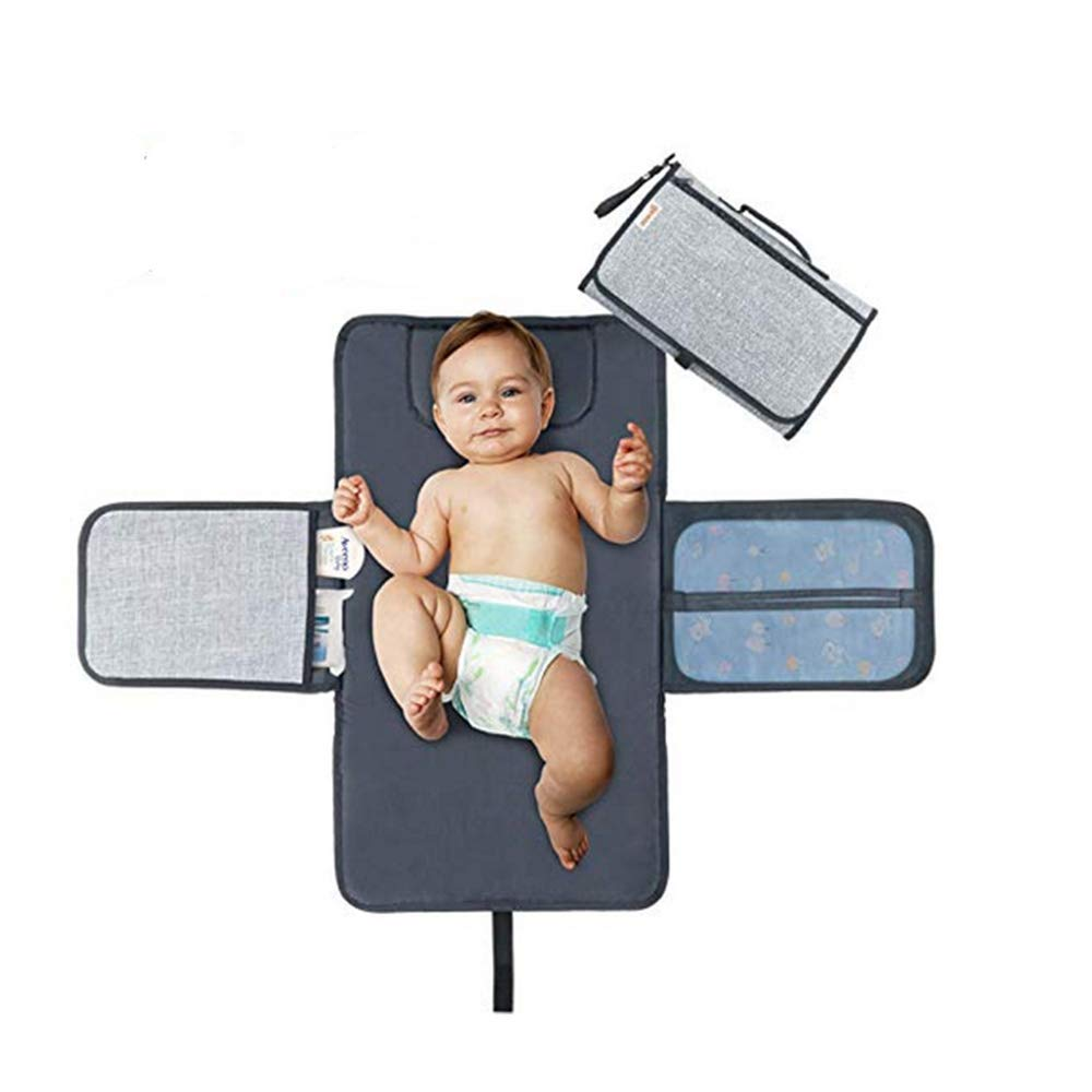 SUMDY Baby Changing Mat, Waterproof Diaper Changing Station (Gray)