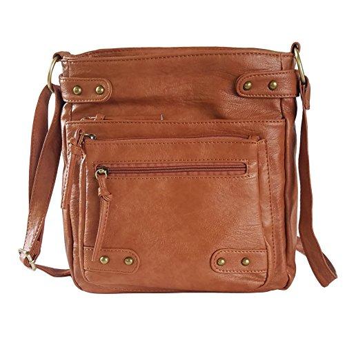 FanCarry Washed Soft PU Leather Crossbody Purse Multi Pocket Shoulder Satchel Bags for Women (Dark Orange-upgraded) (Handbag Soft)