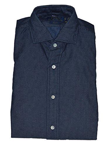 Polo Ralph Lauren Mens Slim Fit Spread Collar Shirt (McQueen Denim Blue, - Spread Collar Shirt Denim