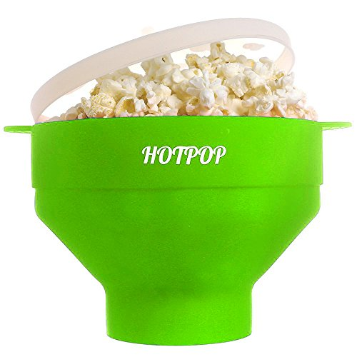 HOTPOP Collapsible Microwave Popcorn Popper with Handles (Green)
