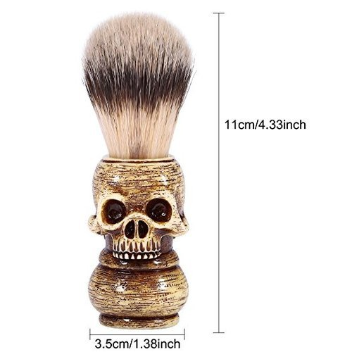 OBeauty Badger Shaving Brush 100% Original Pure Wooden Skull Handle Natural Resin for Men