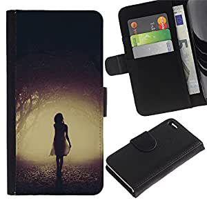 LASTONE PHONE CASE / Lujo Billetera de Cuero Caso del tirón Titular de la tarjeta Flip Carcasa Funda para Apple Iphone 4 / 4S / Mysterious Dark Girl Scary Halloween