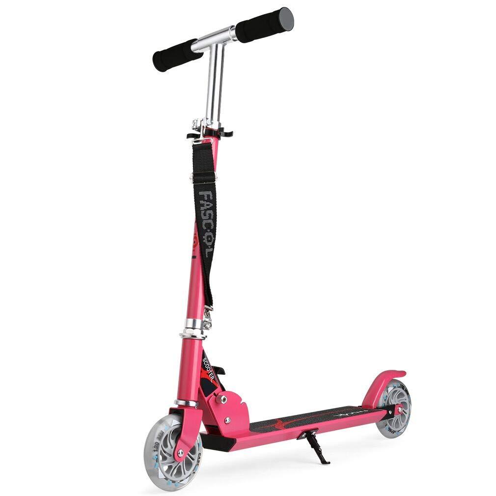 Fascol Patinete para niñas, Scooter Patinete Infantil Plegable de Dos Ruedas , Manillar de Altura Regulable y Plegable,Pink