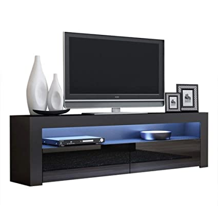 Amazoncom Tv Console Milano Classic Black Tv Stand Up To 70 Inch