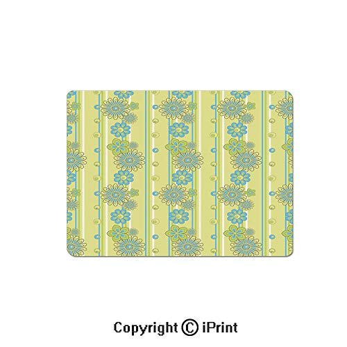 Anti-Slip Mouse Pad,Blooming Ornate Flower Motifs Vertical Stripes Dots Decorative Mouse Mat,Non-Slip Rubber Base Mousepad,7.9x9.5 inch,Pistachio Green Sky Blue Mustard