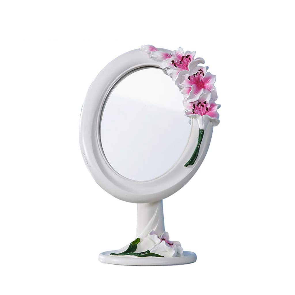 C&Q CQ European-Style Desktop Mirror Simple Countertop Portable Fashion Cute Princess Dressing Mirror Carved Pink Lily Base Mirror