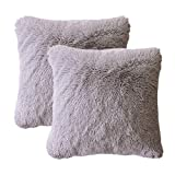 LIFEREVO 2 Pack Shaggy Plush Faux Fur Decorative Throw Pillow Cover Velvety Soft Cushion Case 18''X18'', Gray
