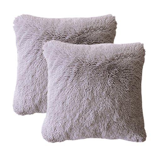 gy Plush Faux Fur Decorative Throw Pillow Cover Velvety Soft Cushion Case 18
