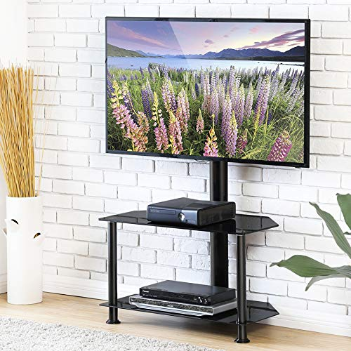 (FITUEYES Floor TV Stand with Swivel Mount and Height Adjustable Flat Curved Screen TV for 32 50 55 inch Vizio/Sumsung/Sony Tvs Max VESA 400x400 FTW207502MB)