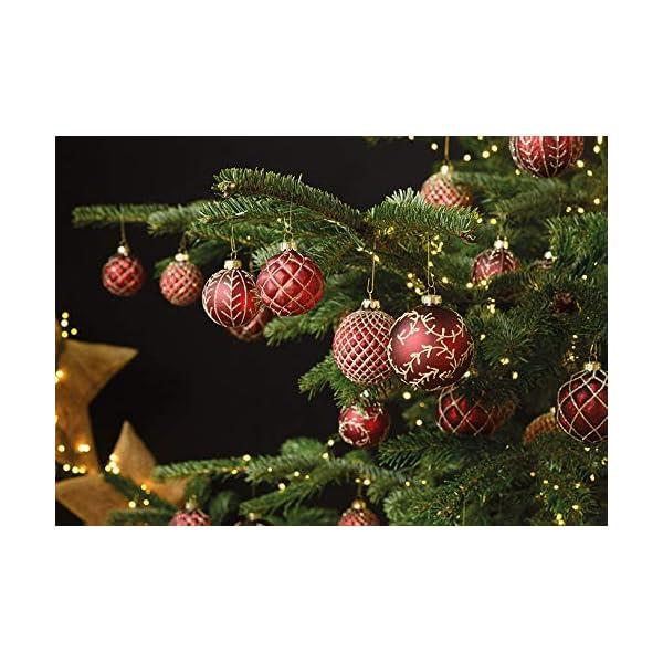 MC, set di 12 palle di Natale in vetro, Ø 6 cm, palle per albero di Natale, decorazione natalizia, Vetro, Oro rosso, Ø 6cm 3 spesavip
