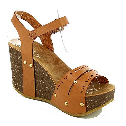 ge Sandals Comfort Thick Cork Board Sandal Buckle Summer Shoes MR19 Tan 8 ()