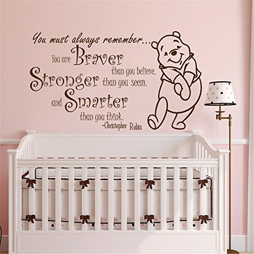 Winnie Pooh Wall Stickers - Wall Sticker Quote Winnie The Pooh Quote Wall Sticker Vinyl Sticker Decals Quotes Braver Stronger Smarter Wall Decor Nursery Baby Room