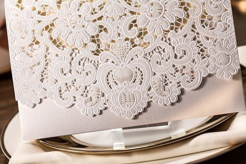 Doris Home 100pcs Ivory Horizontal Laser Cut Wedding Invitation with Hollow Flora Favors (pack of 100pcs) by Doris Home (Image #4)