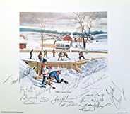 Signed Lithograph with 13 Hockey Hall of Fame Signatures