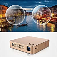Mini DLP Projector,Gentman 1080P LED Wireless Pocket Projector Portable Home Theater Projector Android 4.4 2000 Lumens Support IR WIFI Bluetooth TF USB Mobile Compatible with Smartphones PC Laptop
