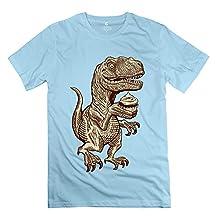 Male Velociraptors Love Cupcakes T-Shirt M SkyBlue 100% Cotton Retro