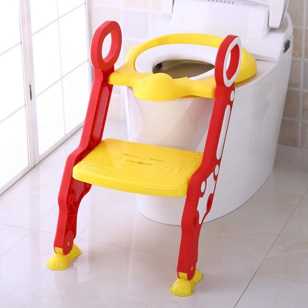 Yalztc-zyq16 幼児子供用便座椅子男性と女性の赤ちゃん普遍的な子供用トイレのはしごリング折りたたみ式 (色 : 赤)  赤 B07R8PRDWX