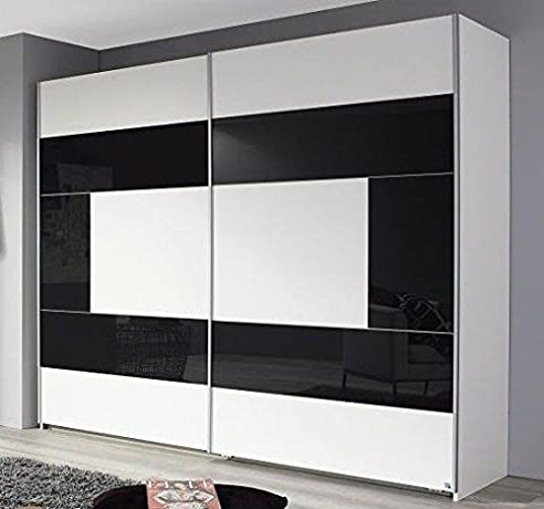 Schwebetürenschrank weiß grau  Schwebetürenschrank weiß grau 2 Türen B 218 cm Kleiderschrank ...