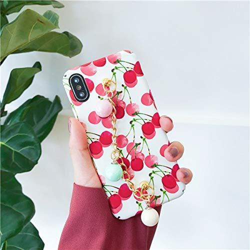 Twinlight Case Lovely Fruit Pineapple Peach Cherry Hard Shell with Pearl Bracelet Chain Cover for iPhone X 7 8 Plus Case (B, for iPhone 7 8)
